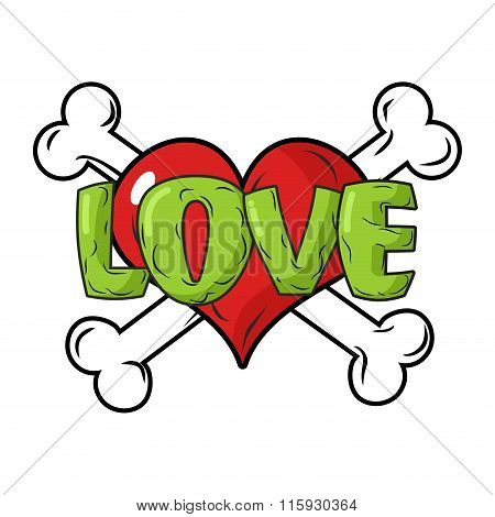 Love To Death. Symbol Is  Red Heart And Crossbones. Emblem For Lovers. Sign For Valentines Day. 14 F