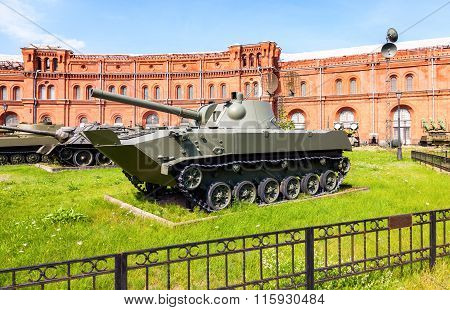 Soviet Amphibious Self-propelled 120 Mm Mortar 2S9 Nona-s In Museum Of Artillery In St. Petersburg,