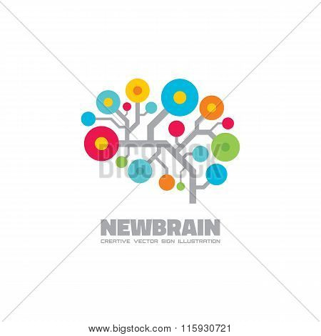 Human brain - vector logo concept illustration. Mind logo sign. Human brain in electronic style.