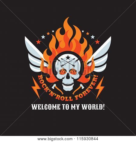 Skull and flame of fire - rock'n'roll and heavy metal music - creative vector badge for t-shirt.