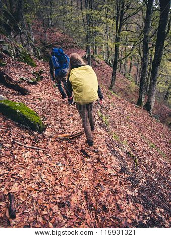 Travelers with backpack trekking outdoor