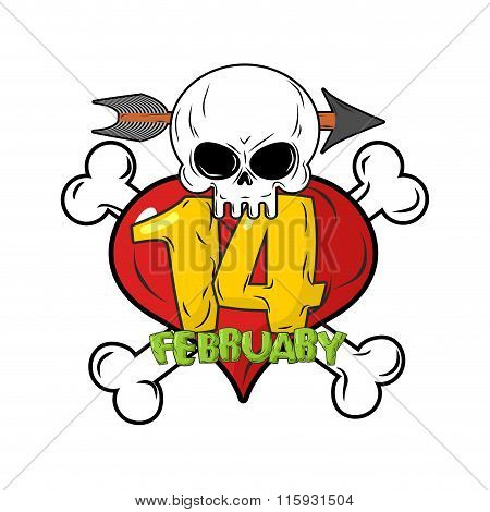 14 February. Valentines Day Logo For Love Until Death. Head Skull Symbol Of Death. Red Heart And Bon