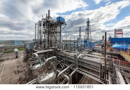 Chemical plant for production of ammonia and nitrogen fertilization on day time.