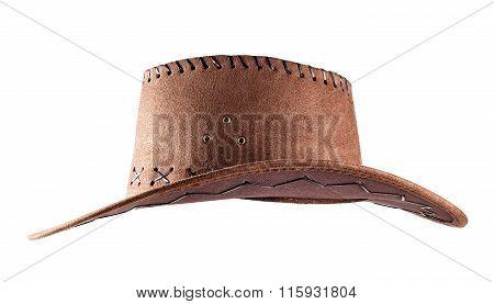 Leather cowboy hat shot side