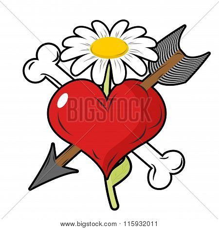 Red Heart Piercing Arrow Symbol Of Love. Bone Is Symbol Of Death. Flower Of Life Symbol. Logo For Lo