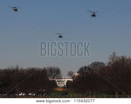 Marine One Approaches White House