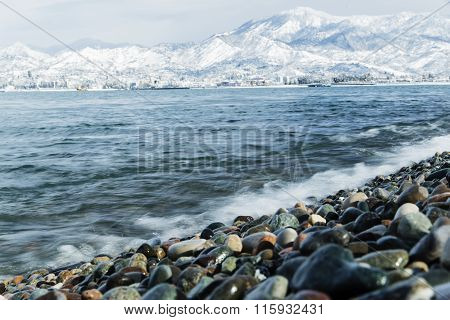 Landscape black sea on background snow mountains of Georgia Batumi Caucasus