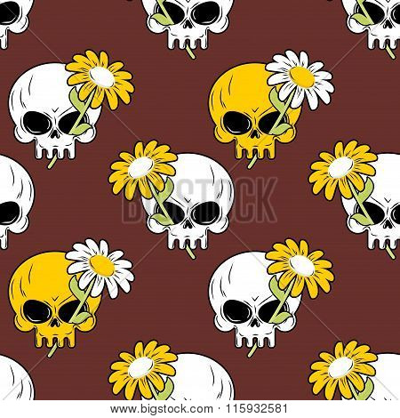 Daisy And Skull Seamless Pattern. Symbol Of Death And Life Background. Texture To Fabric.