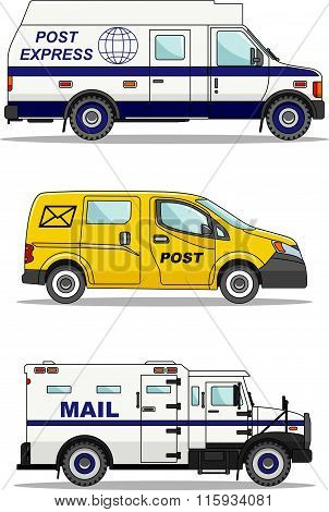 Set of post cars isolated on white background in flat style. Vector illustration.
