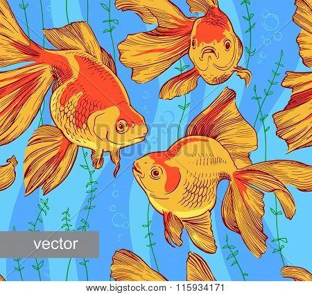Goldfish illustration artwork line underwater pattern seamless texture  vector