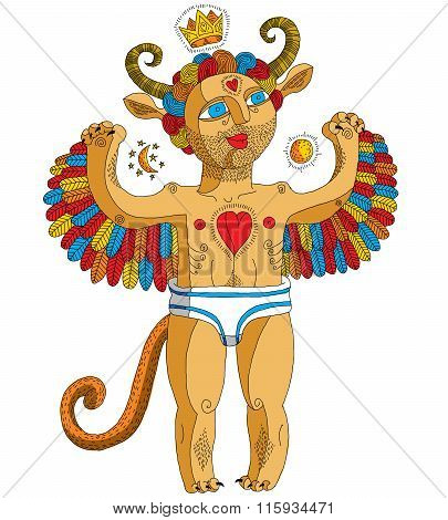 Vector Hand Drawn Graphic Illustration Of Weird Creature, Cartoon Nude Man With Wings And Crown, Ani