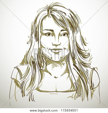 Graphic Vector Hand-drawn Illustration Of White Skin Attractive Kind Lady With Stylish Haircut. Peop
