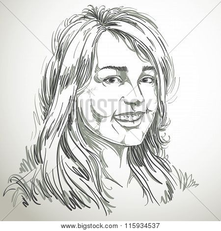Monochrome Vector Hand-drawn Image, Smiling Glad Young Woman. Black And White Illustration Of Jolly
