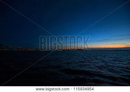 Sunset On The Danube River In Winter