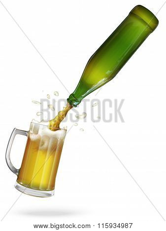 Pour beer. Green bottle of beer. Mug with beer. vector