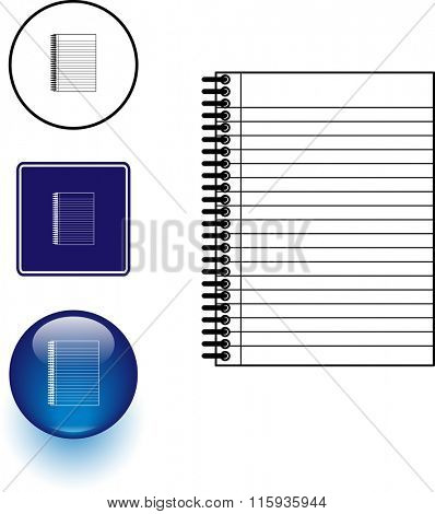 notebook symbol sign and button