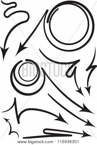 Set Of 9 Black Coiled And Curved Arrows. Vector Illustration