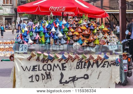 MARRAKESH, MOROCCO, APRIL 3, 2015: Jemaa el-Fnaa square - stand with ceramic souvenirs