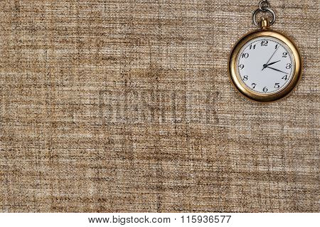 Background burlap with clock