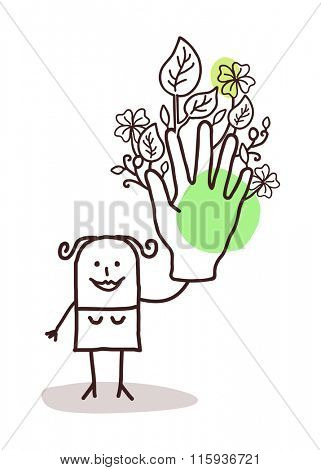 cartoon woman with one big green hand
