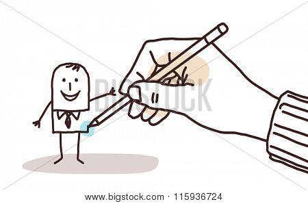 designer hand drawing a cartoon businessman