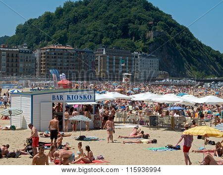 Wooden Beach Bar. Zurriola Beach In San Sebastian. Spain.
