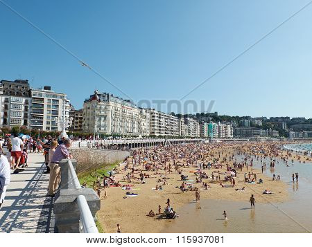 Concha Beach In Concha Bay. San Sebastian, Spain.