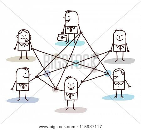 group of business people connected by lines