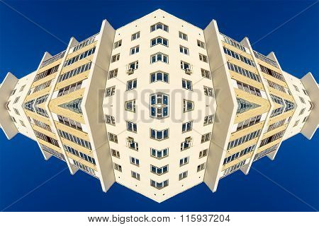 White Apartment Block Abstract And Blue Sky