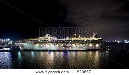 Big Ship At Night In Puerto Rico