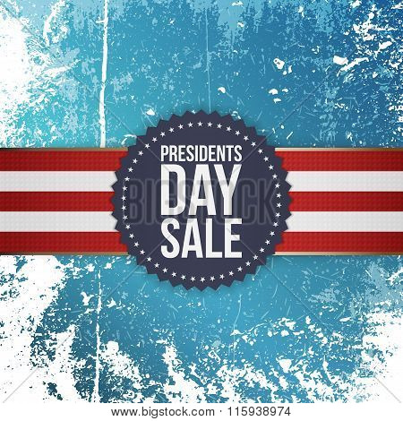 Presidents Day Sale blue Emblem with Ribbon