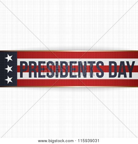 Presidents Day big realistic Banner with Text