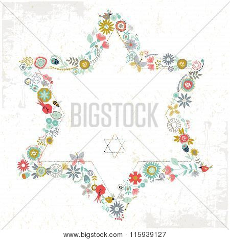 Star Of David Shaped Floral Ornament. Greeting Card. Template.