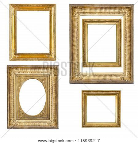 Set Of Gilded Frames Isolated On White