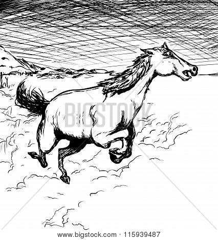 Outlined Running Horse With Dust
