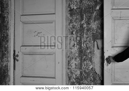 Doll Hand Haunted House Door