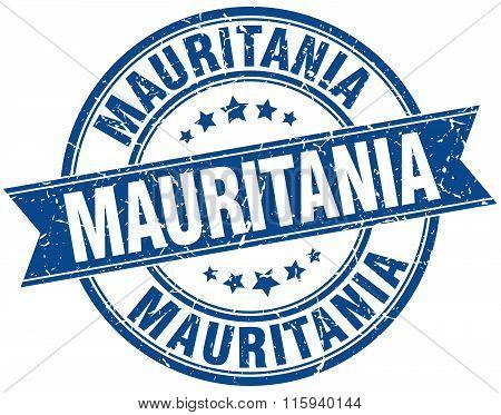 Mauritania blue round grunge vintage ribbon stamp