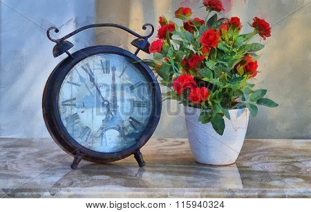 Abstract composition with the clock and a flower.