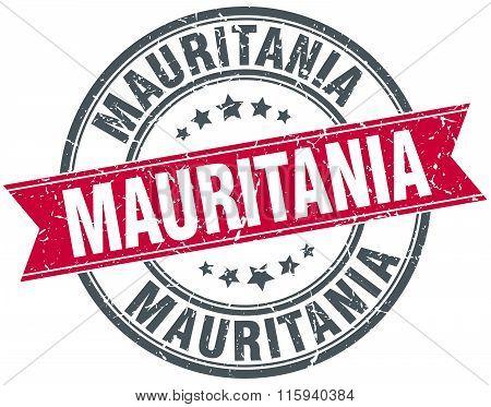 Mauritania red round grunge vintage ribbon stamp