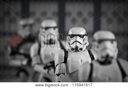 BLOOMFIELD NJ - JAN 24 2016: a row of Star Wars Stormtrooper action figures lining up in a row, shallow depth of field.
