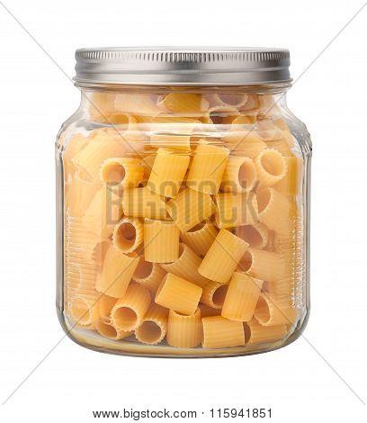 Rigatoni Pasta In A Glass Jar