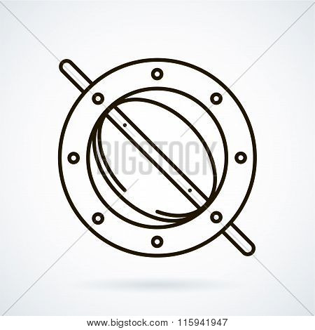 Black line vector icons for ventilation equipment, throttle  on