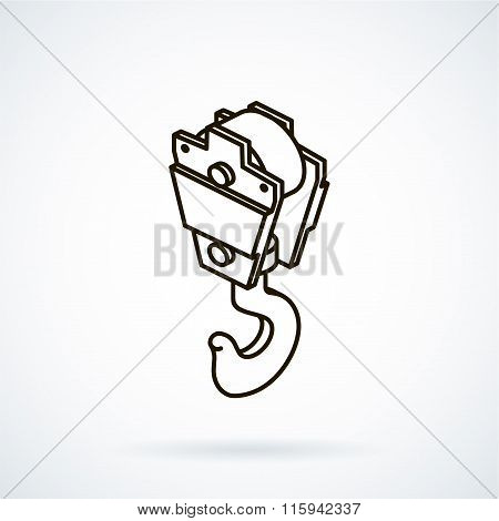 Black isometric line vector icon hoisting crane on white backgro