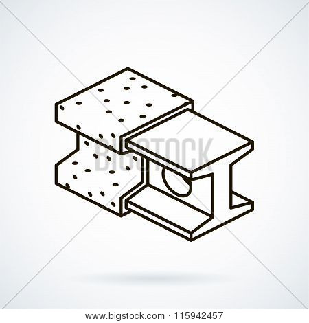 Black isometric line vector icon refractories on white backgroun