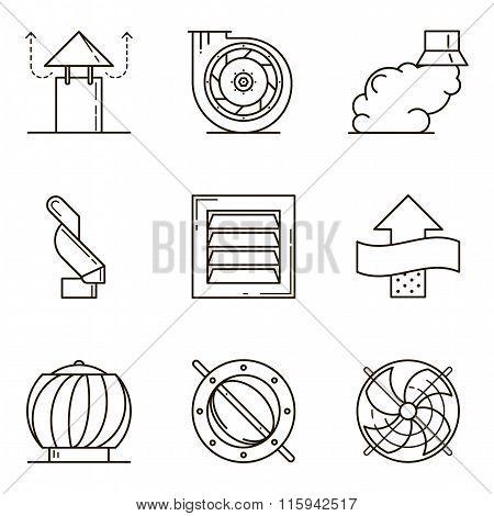 Black flat line vector icon set of ventilation equipment