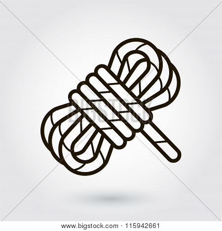 Black flat line vector icon of a hank of rope on