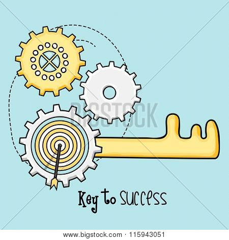 Infographic layout with key to succes for Business developement, progress and profit.