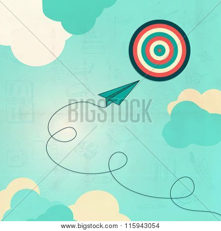 Business Infographic layout with illustration of paper plane flying towards target.