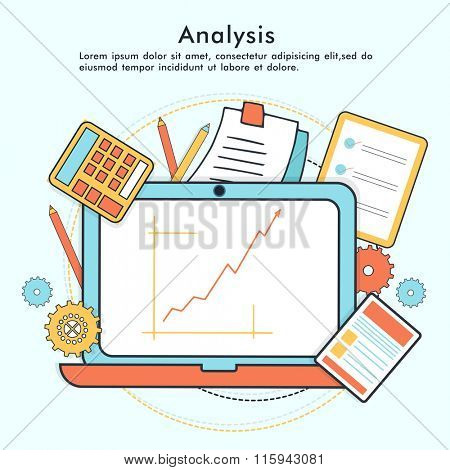 Colorful Infographic elements with statistical bar on laptop for Business analysis concept.