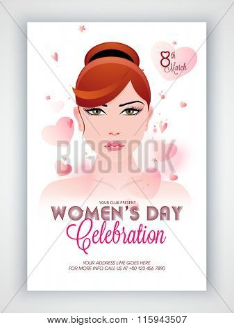 Creative Template, Banner or Flyer design with illustration of beautiful young girl on hearts decorated background for Happy Women's Day celebration.